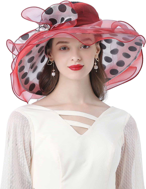 Z&X Organza Church Fascinator Kentucky Derby Hats for Women Flower Wedding Tea Party Hat Wide Brim Sun Hat
