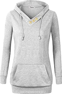 VOIANLIMO Women's Sweatshirts Long Sleeve Button V-Neck Pockets Pullover Hoodies