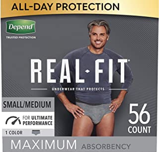 Depend Real Fit Incontinence Underwear for Men, Maximum Absorbency, Disposable, Small/Medium, Grey, 56 Count (Packaging Ma...
