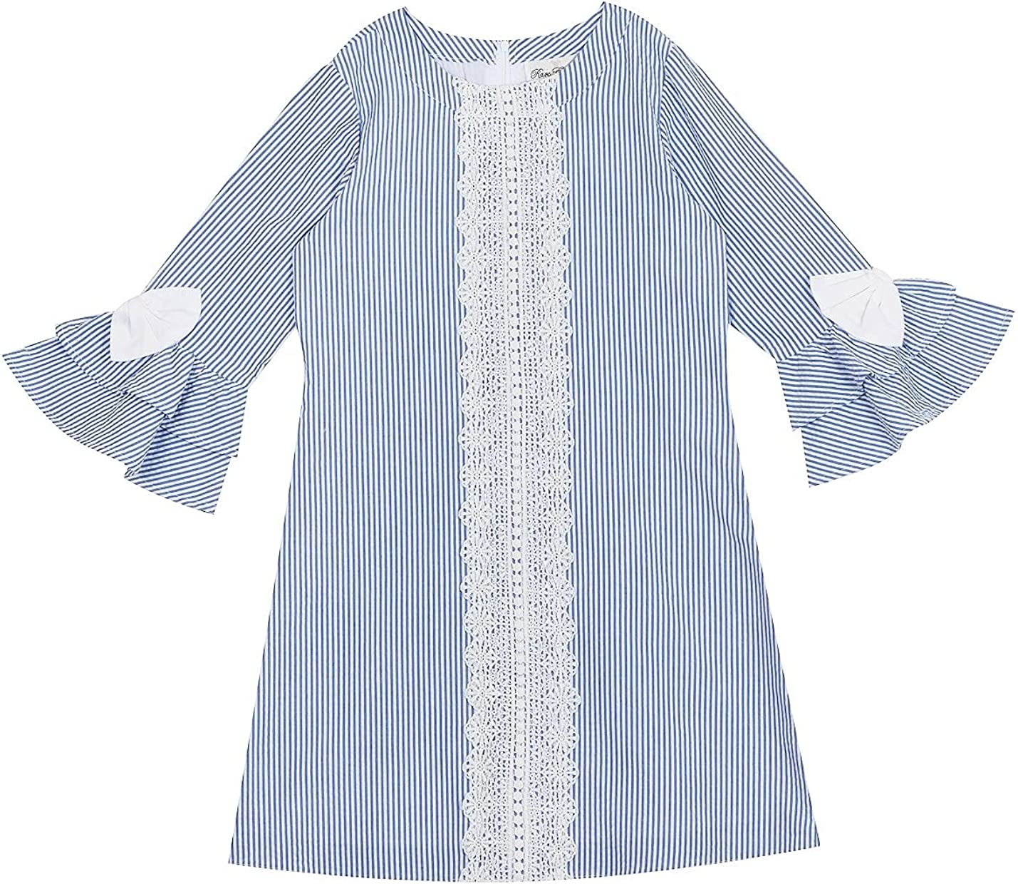 Rare Editions Girls Size 7-16 Blue White Seersucker Lace Front A-Line Dress