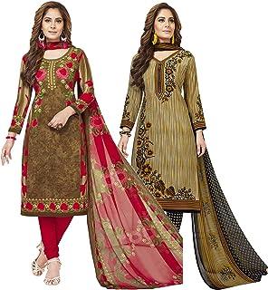 Jevi Prints - Pack of 2 Women's Unstitched Synthetic Crepe Salwar Suit Dupatta Material (V-2363-2377)