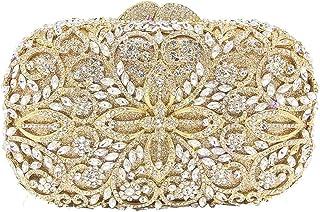 JUNfenghe Floral Pattern Crystal Diamond Luxury Hollow Banquet Dinner Bag Wedding Dress Bride Square Clutch Bag Shoulder Bag Handbag Wallet Size: 18 * 8 * 11cm (Color : Gold)