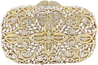 TWTAI Flower Pattern Crystal Diamond Luxury Openwork Party Banquet Evening Bag Lady Wedding Dress Bride Bridesmaid Square Clutches Bags Chain Shoulder Tote Wallet for Women (Color : Gold)
