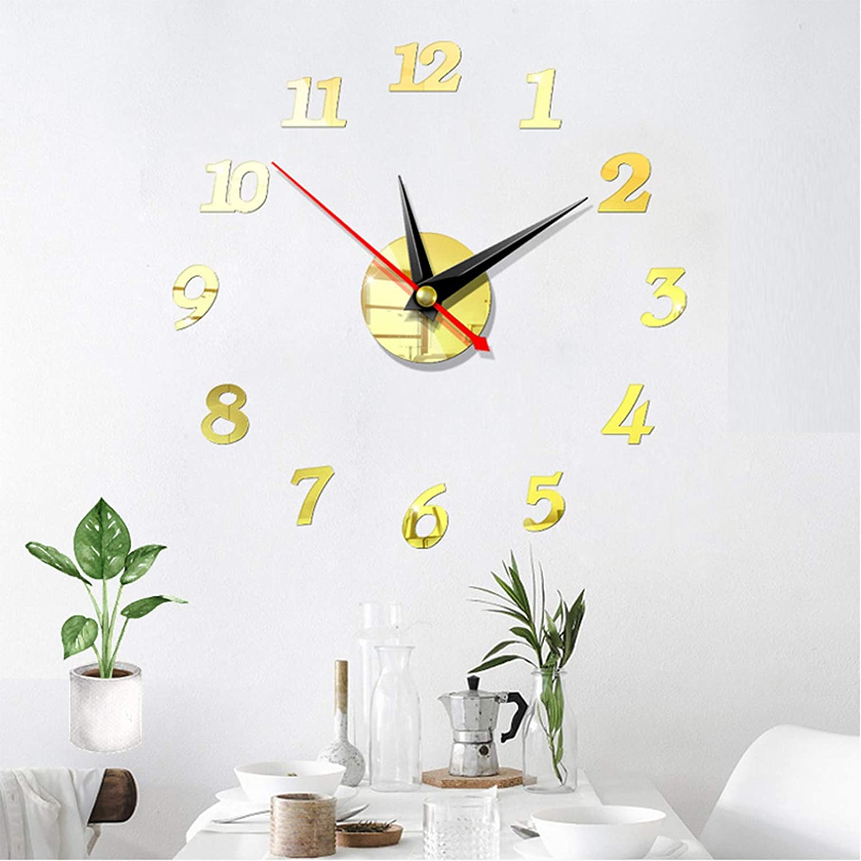 per casa senza cornice ufficio colore: argento Huai1988 Orologio da parete con motivo a clock 3D decorazione fai da te cucina specchio in metallo in acrilico soggiorno grande