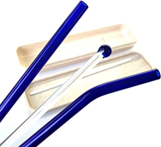 Furuipeng Glass Drinking Straw with Wheat Stalk Protective Carrying Case Holder - Sip Glass Stirrer Stick and Cleaning Brush Blue