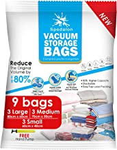 Spedalon Bolsas de almacenamiento al vacío – Pack de 9 (3 grandes + 3 medianas + 3 pequeñas) reutilizables con bomba de mano para embalaje de viaje | Las mejores bolsas de sellado para ropa, edredones