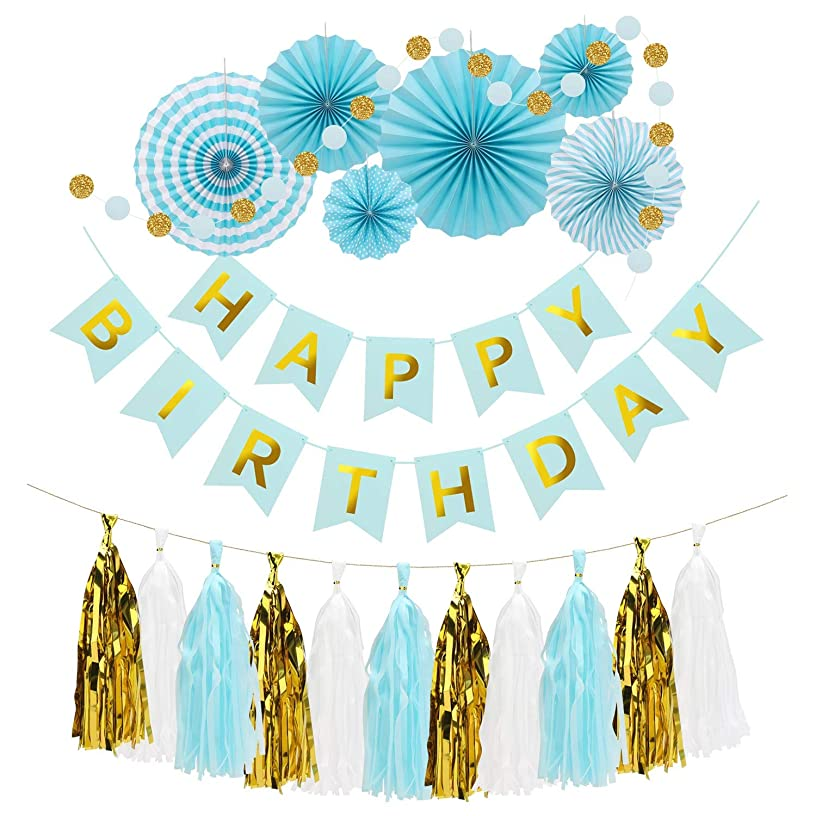 Birthday Decorations, Eusoar Birthday Party Supplies, Happy Birthday Banner, Blue and Gold Party Decorations with Paper Fan, Paper Garland & Hanging Tassel