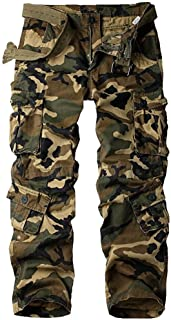 Men's Relaxed Fit Casual Tactical Pants, Cotton Camo Military Wild Combat Cargo ACU Rip Stop Trousers #7533-Camouflage,44