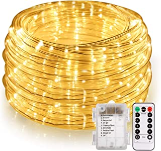 46ft LED Rope Lights Outdoor, Battery Powered Rope String Lights with Remote, 8 Modes/Dimmable/Timer Waterproof Decoration Lighting for Party Patio Garden Tree Indoor Decor, Warm White