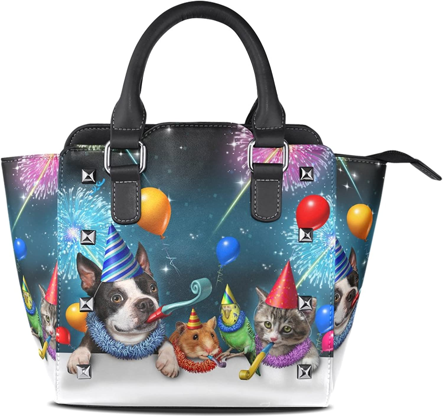 Sunlome New Year Cat Dog Parred Hamster Celebration Print Handbags Women's PU Leather Top-Handle Shoulder Bags
