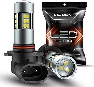 SEALIGHT H10/9145/9140/9045/9040 LED Fog Light Bulbs, 6000K Xenon White, 27 SMD Chips, 360-degree Illumination, Non-polarity, Pack of 2