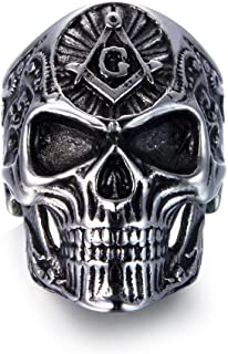 Stainless Steel Masonic Skull Rings, The Premium Fashion Forward Freemason Band Ring for Man Jewelry Size 7 to 13
