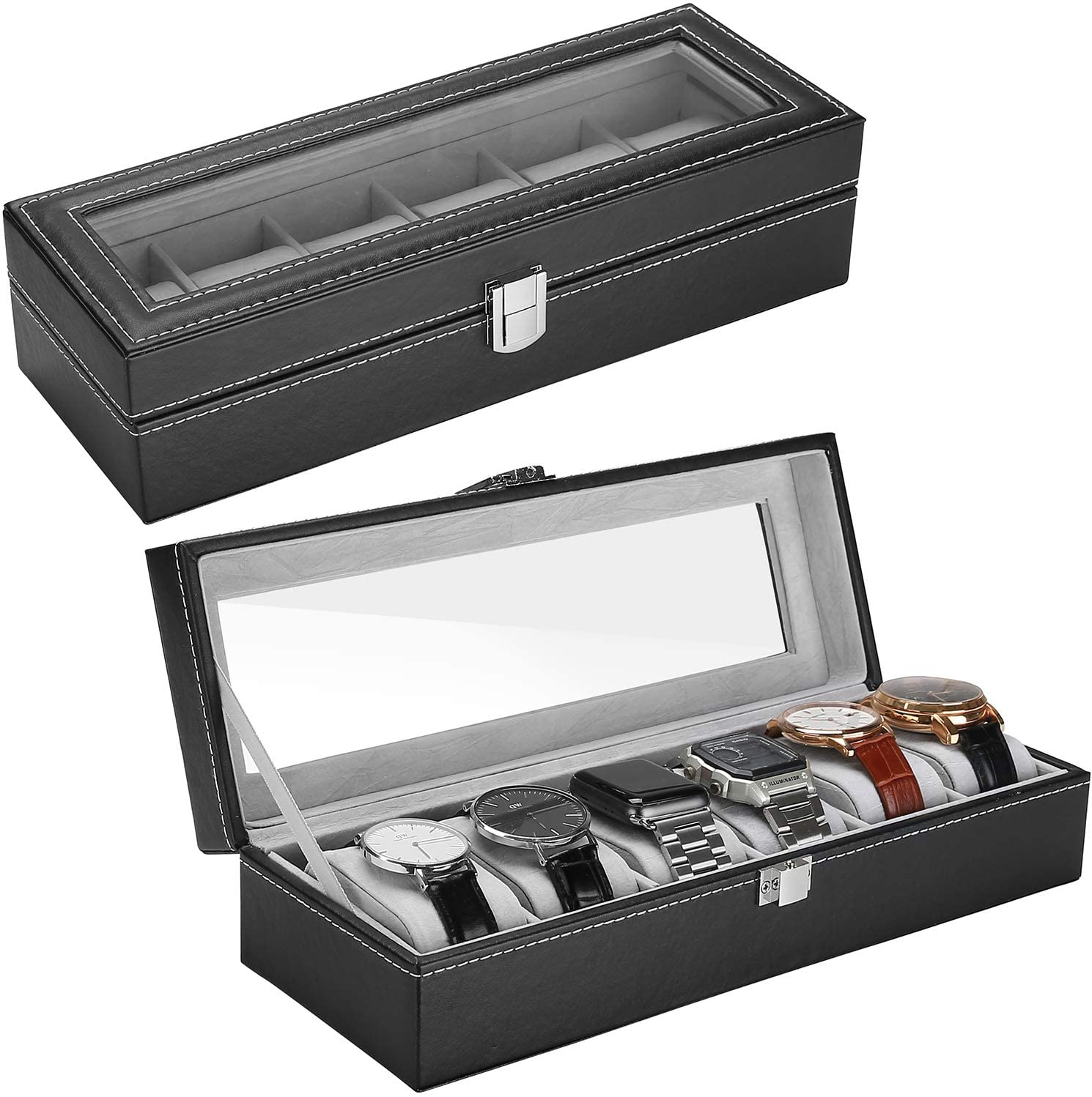 ProCase 6 Slots Watch Over item handling ☆ Box Max 53% OFF Display Case for Fathers Organizer Men