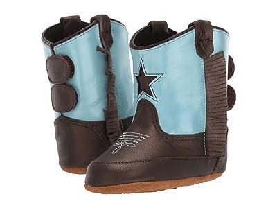 Old West Kids Boots Poppets (Infant/Toddler) (Brown Varona/Silver Light Blue) Cowboy Boots