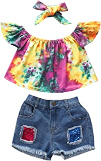 Baby Girl 3-Piece Outfit Set Fashion Tie-dye Tops+Denim Shorts+Headband Summer Clothes (Tie-dye #1, 4T)