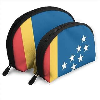 DF039ht20 Flag Of Durham Shell Shape Zipper Cosmetic Bags,Travel Bag,Makeup Holder Case (2-Pack)