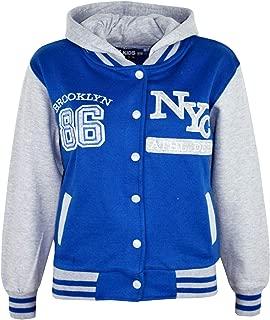 Kids Girls Boys Baseball NYC Athletic Hooded Jacket Varsity Hoodie Age 5-13 Year
