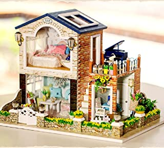 Flever Dollhouse Miniature DIY House Kit Creative Music House with Furniture and Cover for Romantic Festival Gift(Irish Country House Plus Dust Cover and Music Box)