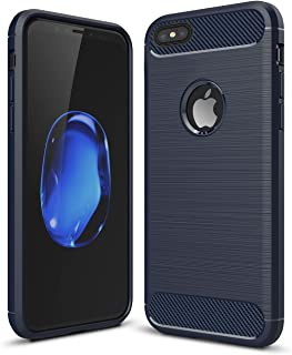 iPhone 7 Plus / 8 Plus Shockproof Silicone Light Carbon Fiber Brushed Grip Back Protective Case Cover for Apple iPhone + Film Screen Protector (Blue)