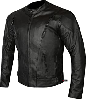 HIGHLY VENTILATED MOTORCYCLE LEATHER CRUISER ARMOR TOURING JACKET FOR MEN L