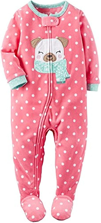 Carter's Girl's Pink Dot Winter Pug Puppy Dog Fleece Footed Pajama Sleeper