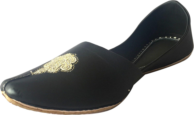 Step n Style Men's Khussa shoes Punjabi Jutti Rajasthani Mojari Kolhapuri Jaipuri Ethnic Indian shoes Black