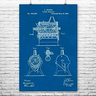 Burns Coffee Roaster Poster Print, Espresso Maker, Coffeeshop, Breakfast Cafe, Barista Gifts, Cappuccino Drinker Blueprint (11