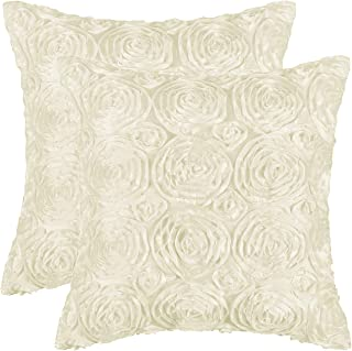 Pack of 2 CaliTime Cushion Covers Throw Pillow Cases Shells for Couch Sofa Home Solid Stereo Roses Floral 20 X 20 Inches B...