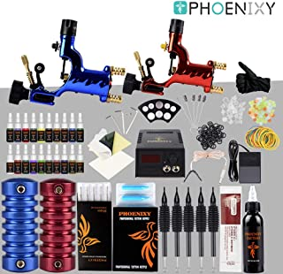 Phoenixy Tattoo Machine Kit,2 Pro Dragonfly Rotary Professional Complete Shader & Liner 20+1 Assorted Tattoo Inks 50 Needles 50 Tips Motor Gun Kits Supply For Artists