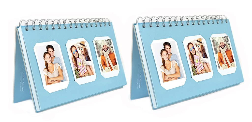 Golden State Art Pack of 2, Instax Frames Collection, Light Blue Color, Photo Album Book Style 60 Pocket for Fuijufilm Instax Mini 7S 8 70 90 25 50S 8+ Film