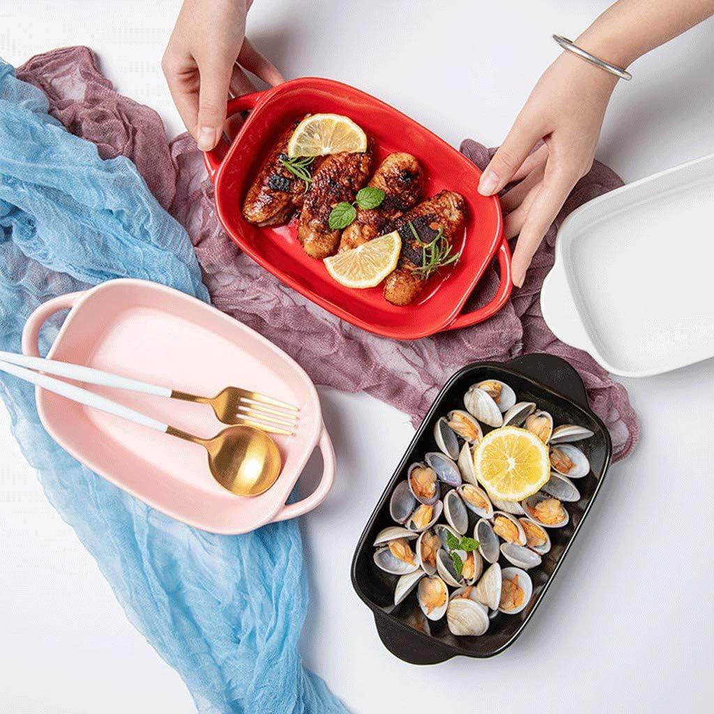 Chun Li Plateau de cuisson, plat de cuisson en céramique, Vaisselle de l'Ouest, bol de riz, Deep Dish, Binaural Four, Ménage Ustensiles de cuisson (Color : A) A