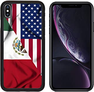 Liili Premium Apple iPhone XR Aluminum Backplate Bumper Snap Case Image ID: 19305754 United States of America and Mexico Waving Flag
