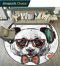 Animal Colorful Round Rugs Panda Bear Headphones Room Rugs Diameter-47