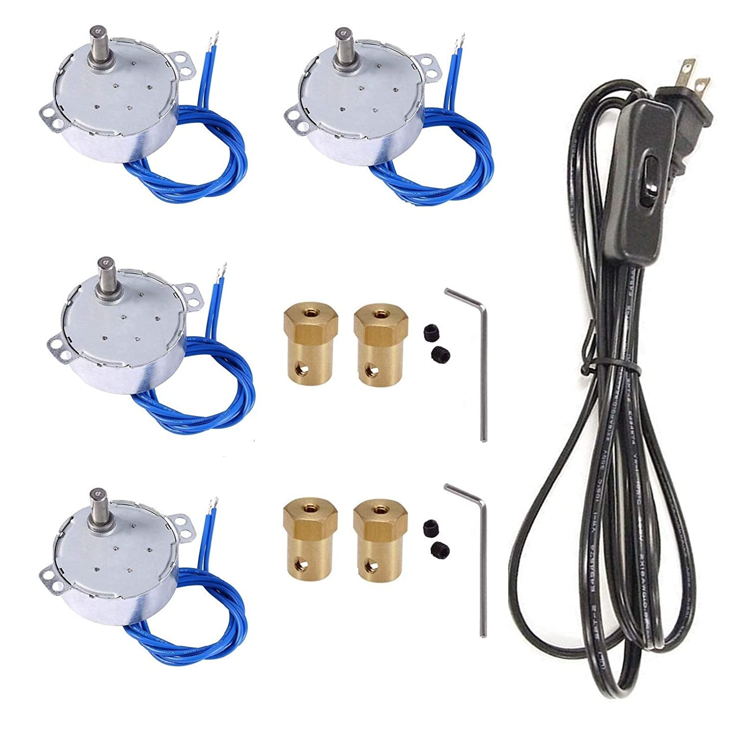 4PCS Turntable motor Synchronous Synchron Motor 50/60Hz AC100~127V CCW/CW 4W with 7mm Flexible Coupling Connector and 6ft PowerCord Switch Plug For Cup Turner,Hand-Made, School Project, Model (2.5-3R)