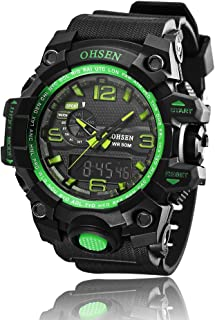AD1606 OHSEN Mens Analog Digital Dual Timezone Stainless Steel Quartz Wrist Watch in Green