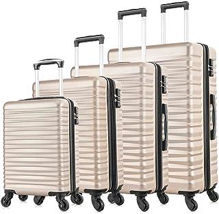 4 PCS Luggage Sets Carry On Luggage Sets Spinner Wheels With TSA Lock And Expandable Zipper (Champagne 4 PCS TSA Lock And ...