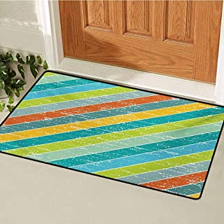 Vintage Rainbow Welcome Door mat Diagonal Stripes with Grunge Effect Funky and Geometric Weathered Look Door mat is odorless and Durable W31.5 x L47.2 Inch Multicolor