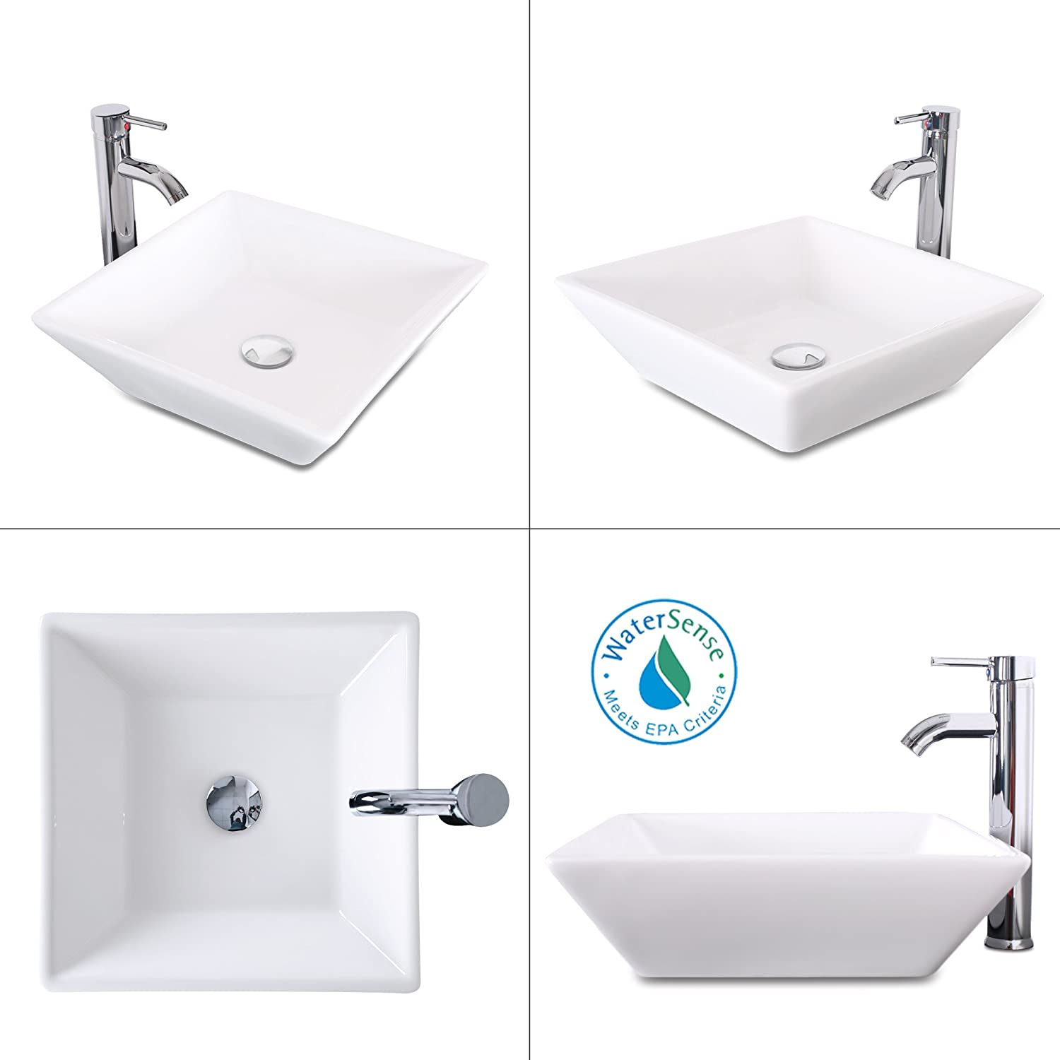 Buy 1 5 Gpm Counter Top White Square Porcelain Ceramic Sink Bowl White Square Bathroom Vessel Sink Combo With Chrome Solid Brass Faucet And Pop Up Drain For Bath A07 Online In Indonesia