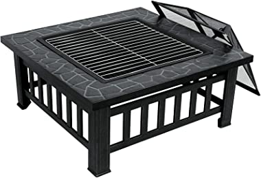 ZENY 32'' Outdoor Fire Pits BBQ Square Firepit Table Backyard Patio Garden Stove Wood Burning Fireplace with Spark Screen Cov
