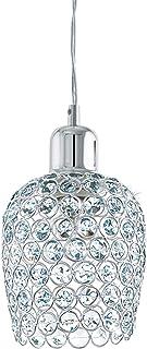 EGLO Lámpara colgante Bonares 1, 1 foco, elegante, lámpara de techo de acero y cristal en cromo, transparente, lámpara de comedor, lámpara colgante con casquillo E27