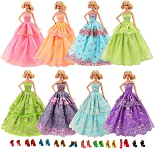 BARWA 3 Sets Princess Evening Party Clothes Wears Wedding Gown Dress with 5 Pair Shoes for 11.5 inch Doll