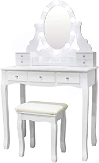 Vanity Set Oval Mirror Surrounds 10 Small Light Bulb and Cushioned Stool, LED Bulb and USB Plug, with Surprise Gift Makeup Organizer 7 Drawers Dressing Table for Bedroom, Bathroom, White