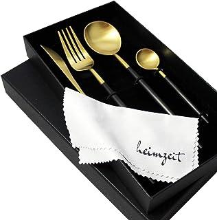 heimzeit Juego de Cubiertos de Acero Inoxidable 18/10 Color: Oro-Negro - Cubertería Elegante para 1 Persona, 4 Piezas (Cuchillo, Tenedor, Cuchara, cucharilla) - Apto para lavavajillas