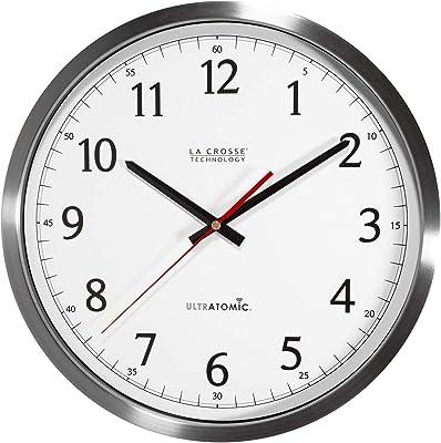 La Crosse Technology 404-1235UA-PL UltrAtomic 14 inch Wall Clock, Plastic, Silver