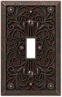 Filigree Single-Toggle Switch Plate in Aged Bronze