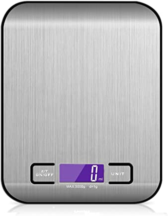 Digital Kitchen Scale -Multifunctional Food Scale Batteries for Beginners and Professionals-Up to 5kg/11lb with 1g/0.01oz Precision for easy Scaling
