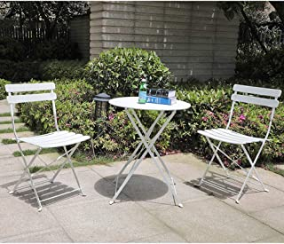 OC Orange-Casual 3-Piece Folding Outdoor Bistro Sets, Portable Steel Patio Furniture Sets, Weather-Resistant Garden Table and Chairs, White