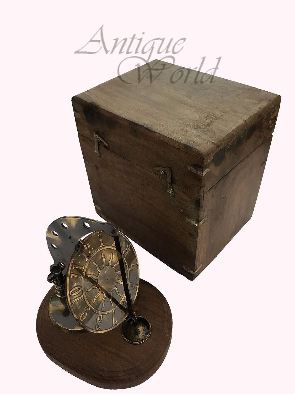 Antiques World Vintage Decor Smith & London Old Antique Brass Collectible Sun Clock Sundial Compass AWUSASC 068