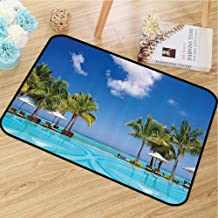 Absorbing dust Door mat Coastal Decor Collection Easy to Clean Tropical Beach Resort in Mauritius Swimming Pool and Sunbeds Coconut Palm Trees Picture W16 x L24 Blue Turquoise Green