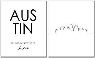 N&T Austin Skyline Wall Décor Prints - Set of 2 (8x10) Art Photos - Typography Minimalist Poster